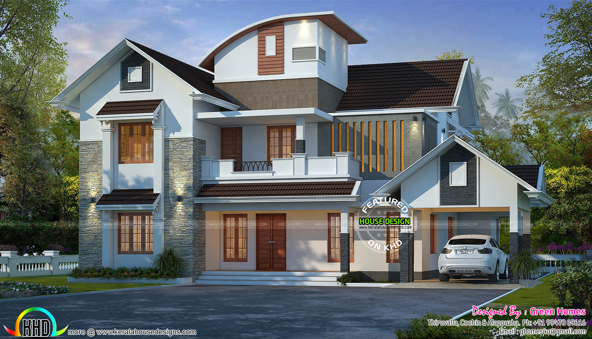 Curved roof mix modern home 2600 sq ft kerala home for Curved roof house plans