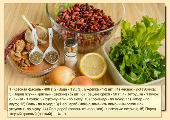 Кинза — 1 пучок Сельдерей (зелень от черенков) — несколько веточек Уцхо-сунели — по вкусу Кориандр — по вкусу Чабер — по вкусу Соль — по вкусу Наршараб (можно заменить лимонным соком или уксусом) — по вкусу