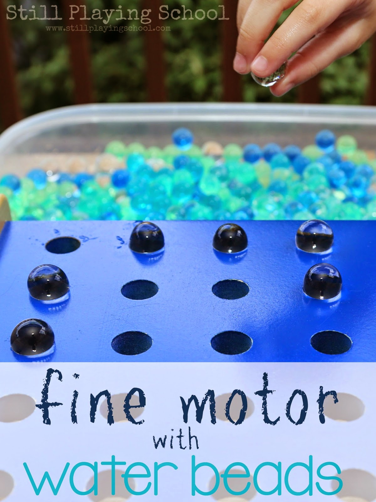 Ideas to practice fine motor skills using water beads for kids!
