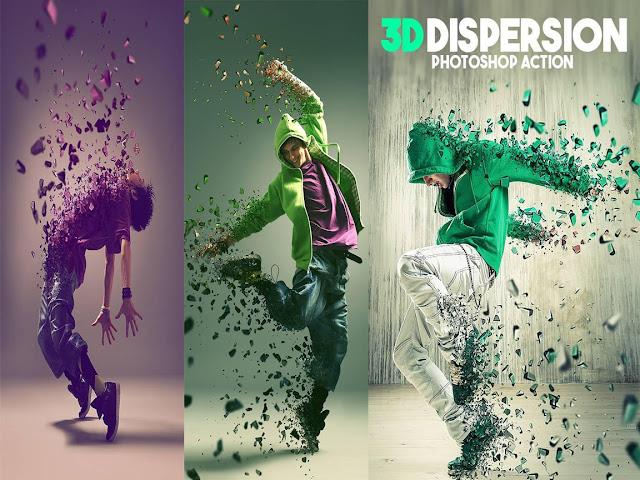 3D Dispersion Photoshop Action اكشن ثرى دى للفوتوشوب روعة