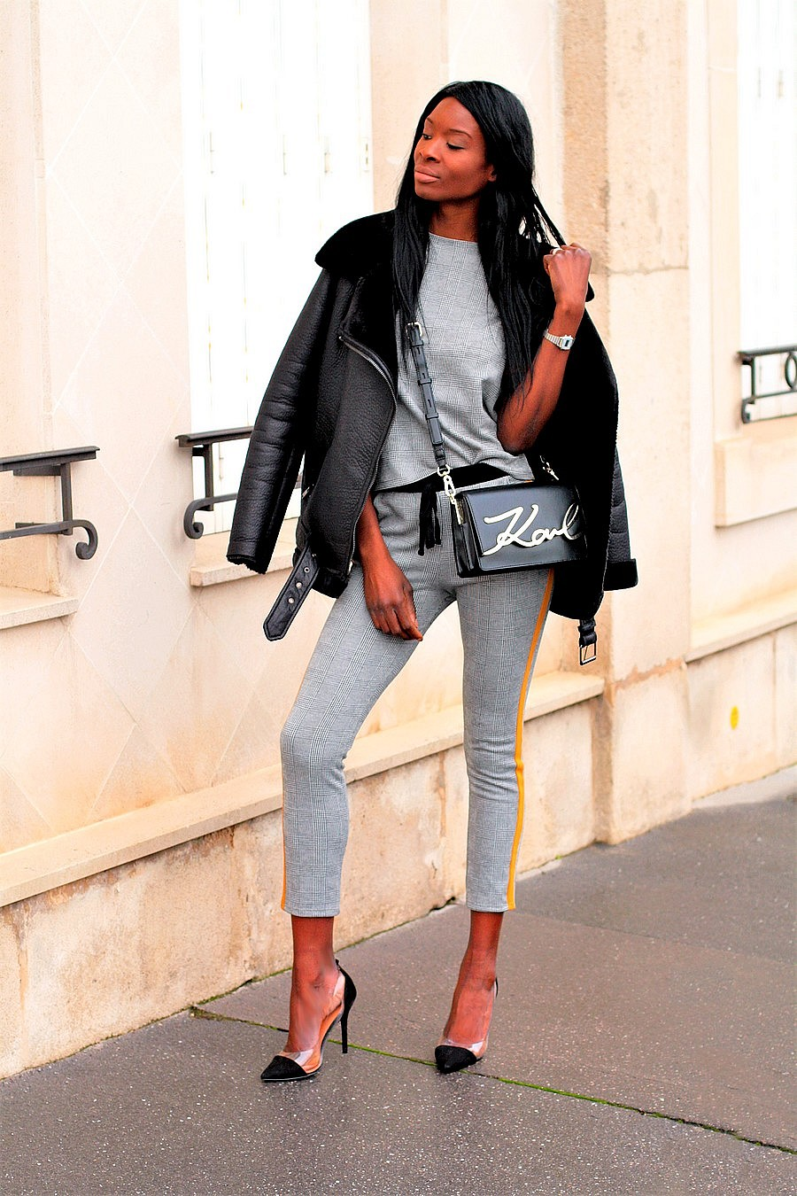 ensemble-carreaux-zara-sac-karl-lagerfeld