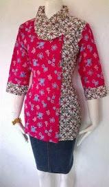 Desain Baju Batik Kerja Modern Terbaru
