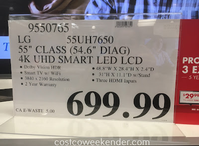Deal for the LG 55UH7650 55in UHD 4K HDR Smart LED TV at Costco