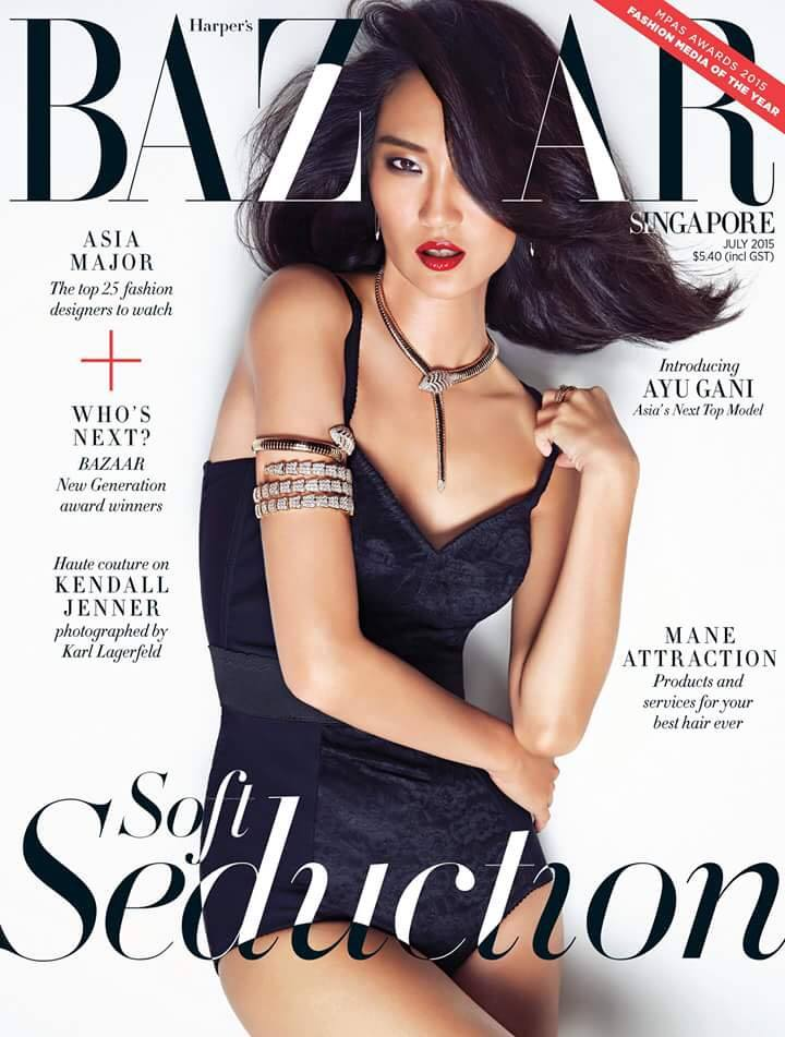 Ayu Gani covers Harper's Bazaar Singapore July 2015