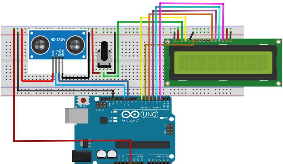 Rangkaian Pengukur Jarak Mengunakan Arduino Dan Sensor