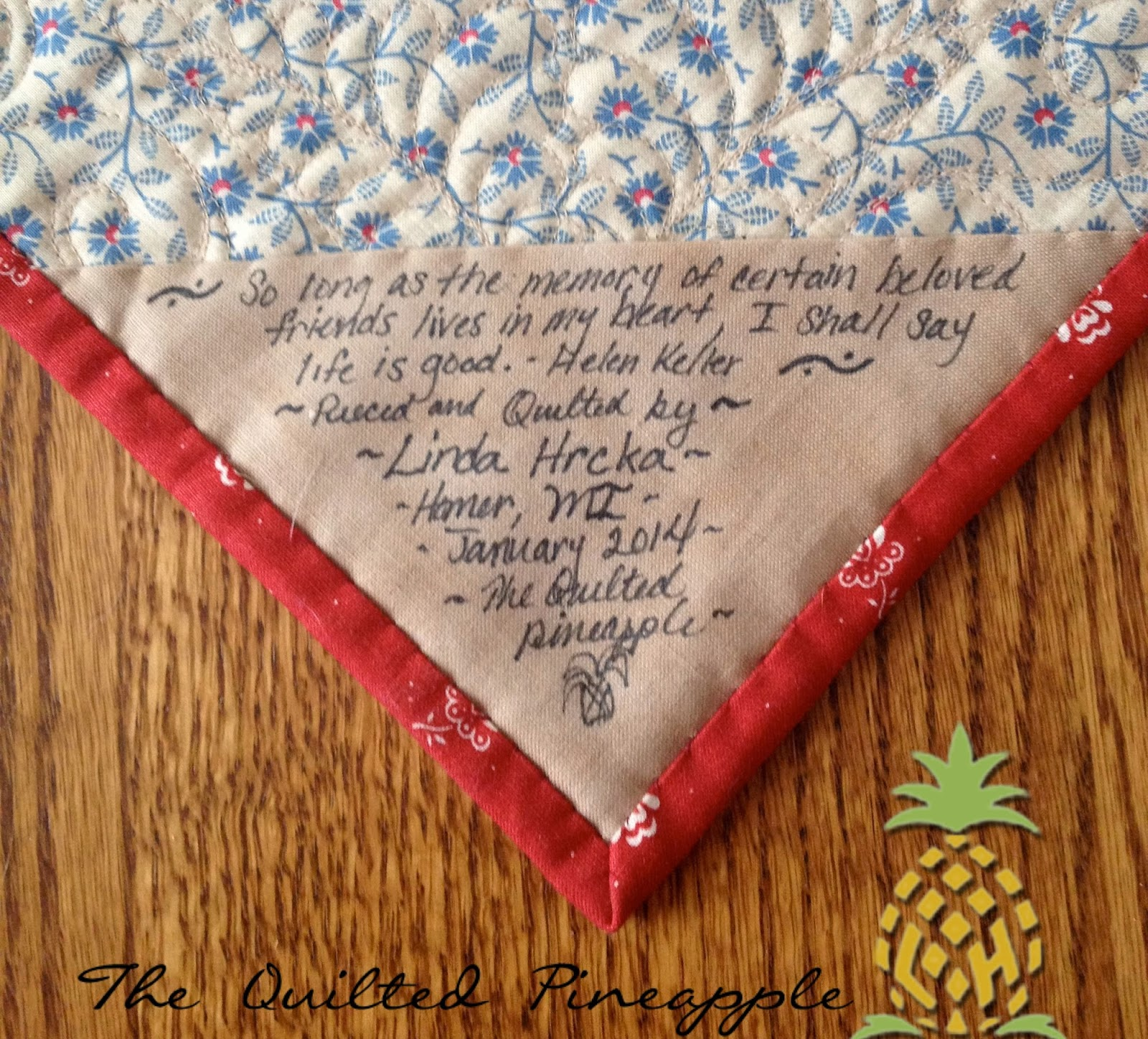THE QUILTED PINEAPPLE: What A Beautiful Day