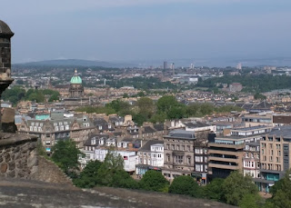 View of the city from Edinburgh Castle, clear to the Firth of Forth, Edinburgh, Scotland