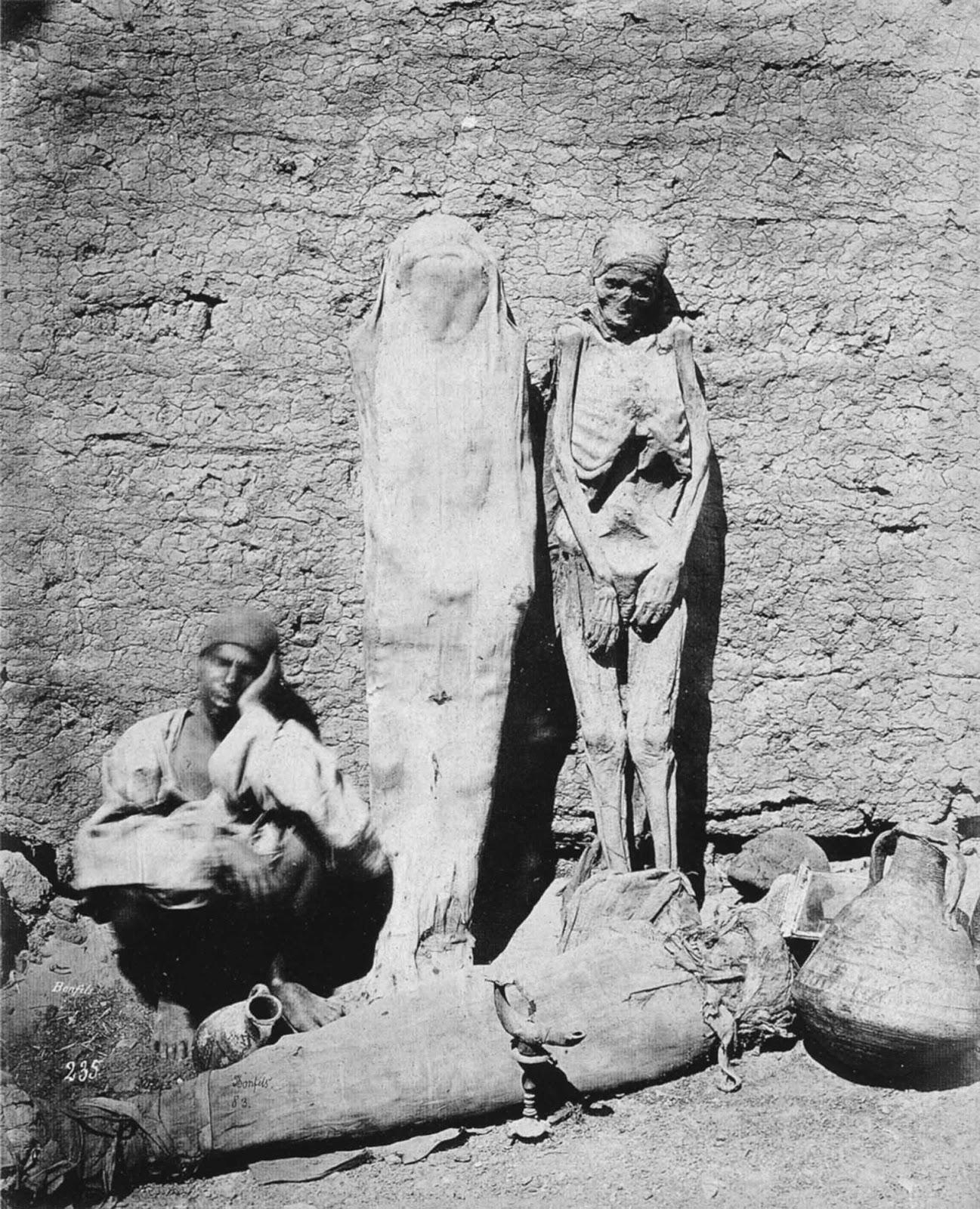 Egyptian mummy seller, 1875.
