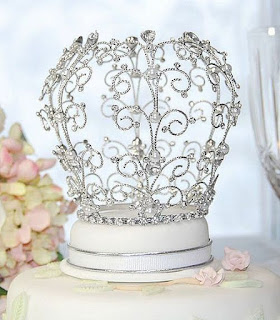 Elegant Crown Rhinestone Wedding Cake Topper