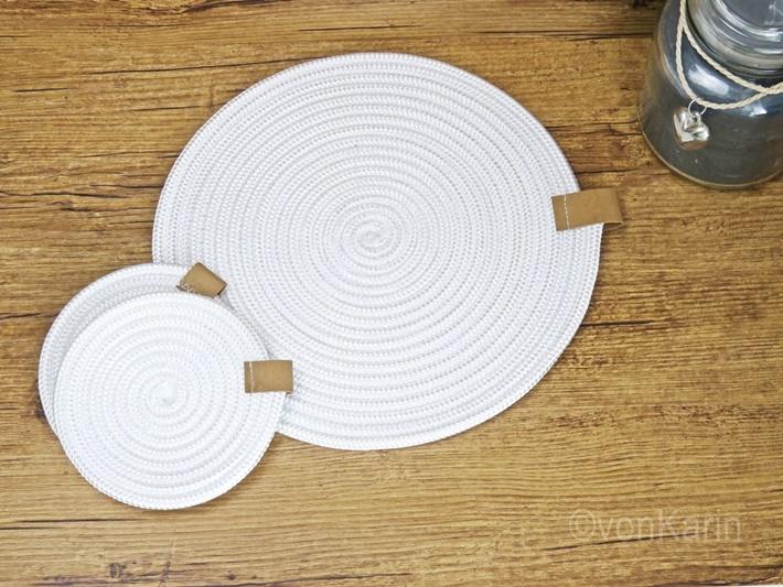 DIY: Untersetzer aus weissem Seil naehen - Sewing rope rugs