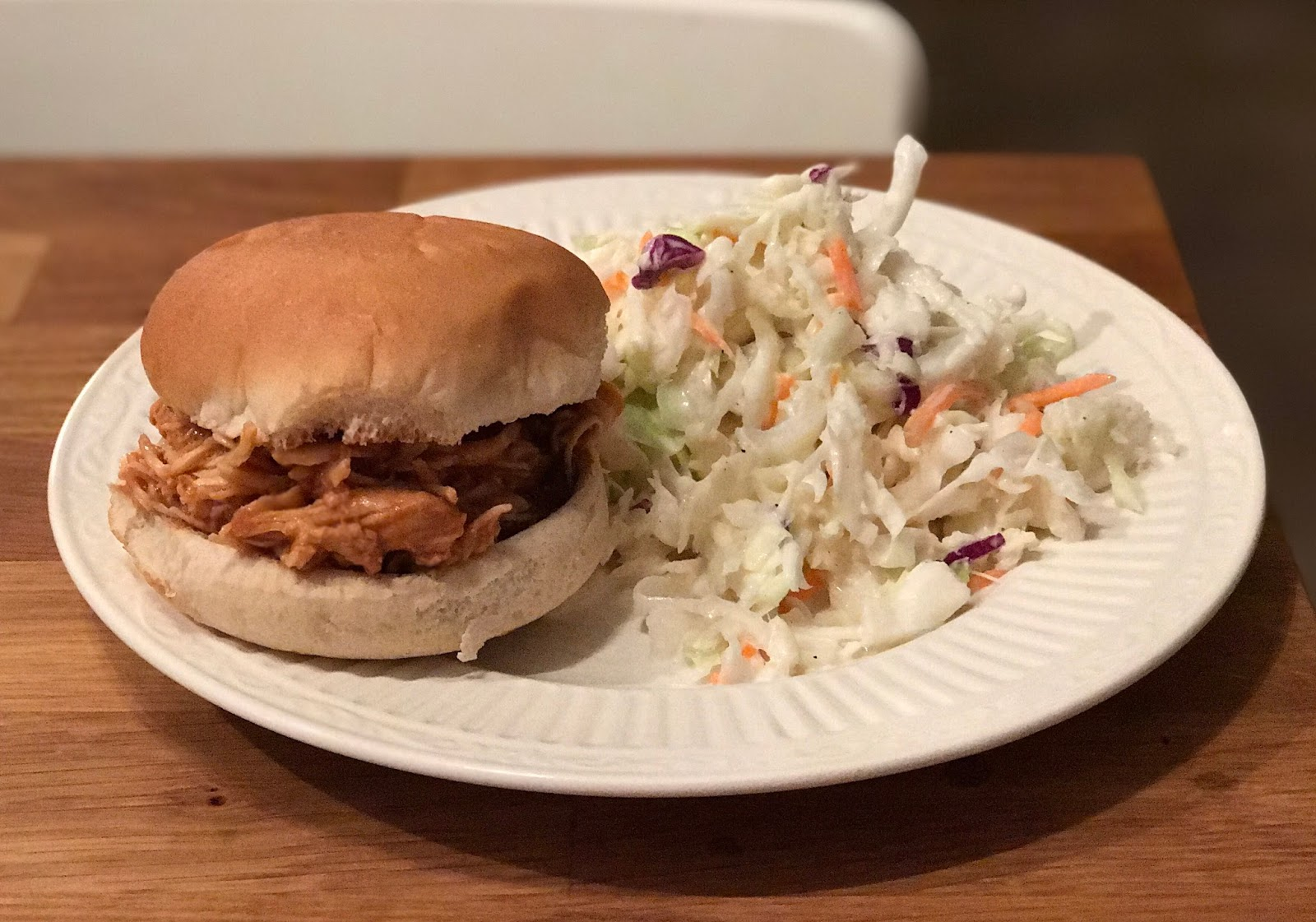 Making a House a Home: BBQ chicken sandwich and coleslaw...