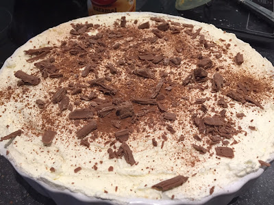 Cocoa and Chocolate sprinkles on top of the banoffee pie
