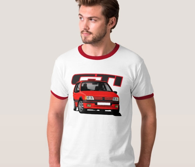Classic red Peugeot 205 GTi t-shirts