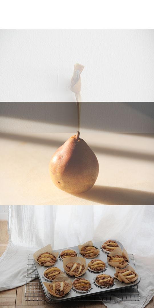 Haferflockentörtchen mit Birnenspalten und Ahornsirup