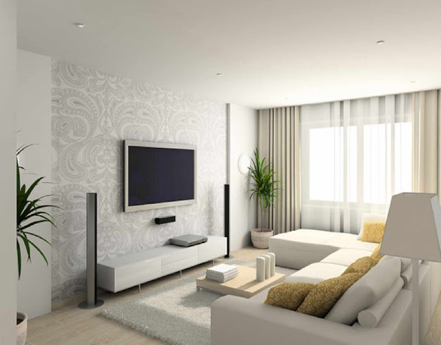 White modern living room interior design furniture