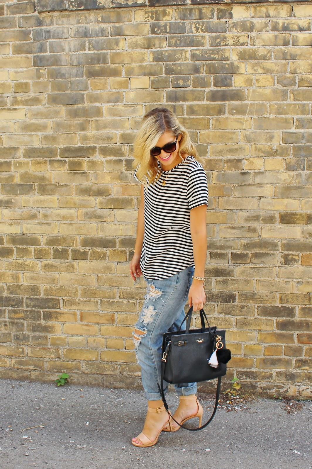 Bijuleni, stripe top, distressed jeans and Kate Spade tote