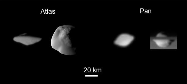 atlas e pan, satélites de Saturno - comparação