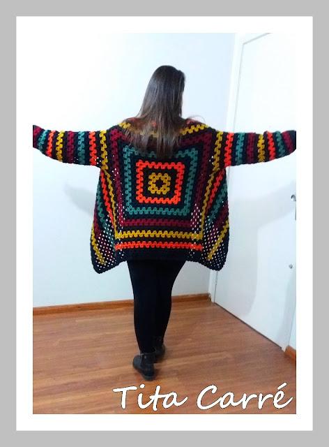 Casaco Square Preto no Colorido em crochet