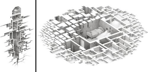 00-Matt-Borrett-Hiding-in-a-Safe-Architectural-Labyrinth-Drawing-www-designstack-co