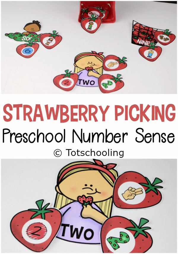 FREE printable Strawberry themed number sense activity for preschoolers! Perfect for Spring or Summer when visiting a farm, picking berries, or simply learning about fruit! Great for a preschool math center.