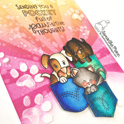 Sending You a Pocket Full of Paw-sitive Thoughts Card by Samantha Mann for Simon Says Stamp and Newton's Nook Designs Stamptember 2020, Cards, Handmade Cards, Distress Inks, Ink Blending, Stencil, Pocket #cards #stamptember #stamptember2020 #stencil #cards #newtonsnook