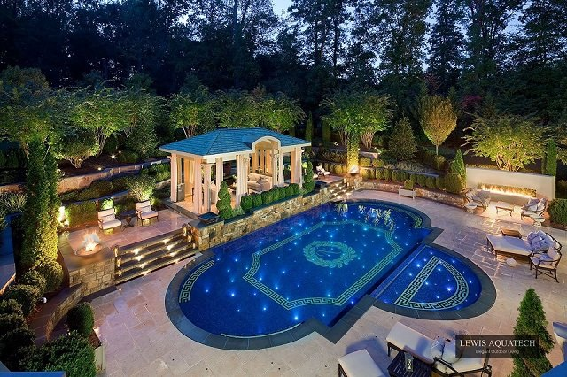 Victorian landscape Design With Swimming Pool