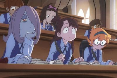 Sucy, Akko e Lotte na sala de aula