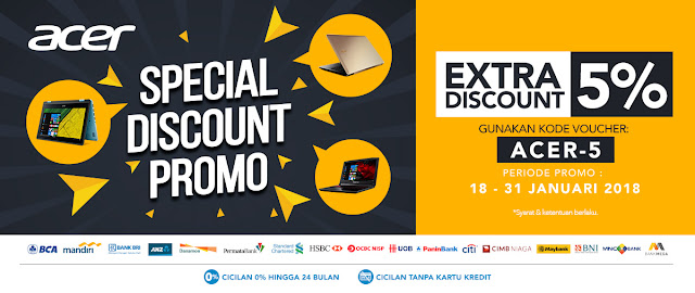 Blibli Acer Day Special Promo Ekstra Diskon 5% Periode 18-31 Januari 2018