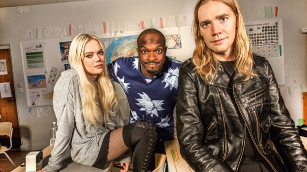 Josefine Jinder, Kodjo Akolor y Pelle Almqvist (Photo: Jan Danielsson/SVT)
