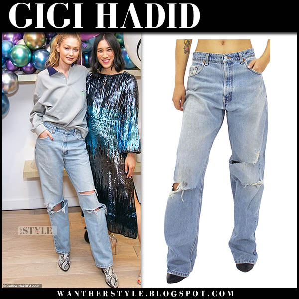 Gigi Hadid in grey sweatshirt and baggy ripped jeans danielle guizio model style november 1