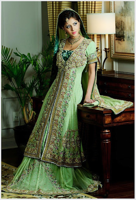 Punjabi Bridal Look With Green Bridal Dress