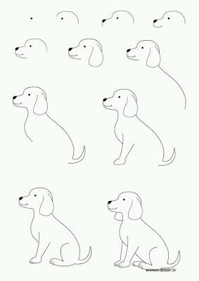 Cara menggambar hewan anjing