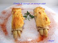 Canelón de espárragos con merengue salado