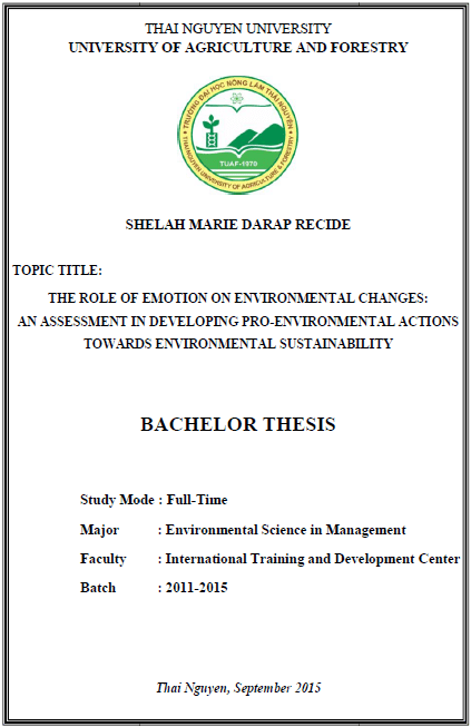 The Role of Emotion on Environmental Changes An Assessment in Developing Pro-Environmental Actions Towards Environmental Sustainability