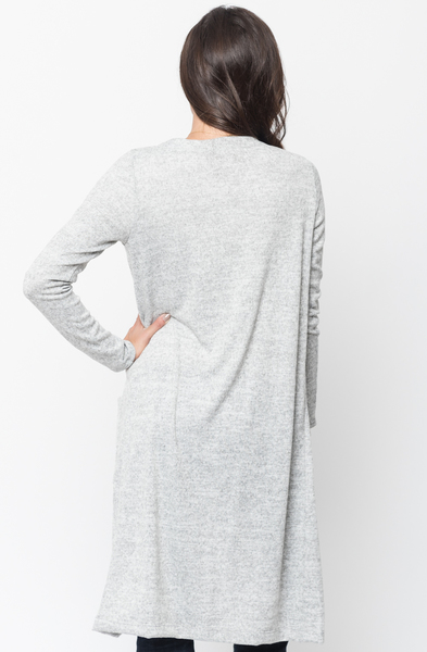 Shop for Heather grey Everyday Maxi Cardigan Front Pockets and Full Length Sleeves Online - $44 - on caralase.com