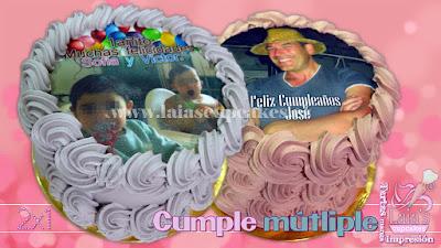 tarta personalizada fondant impresión comestible cumpleaños 2x1 felicidades Laia's Cupcakes Puerto Sagunto