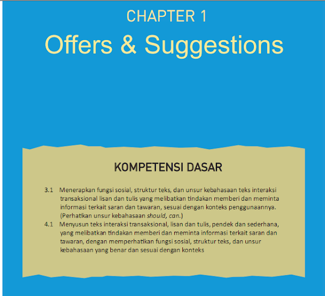 Materi awal Bahasa Inggris Kelas XI Sekolah Menengan Atas Offers and Suggestions