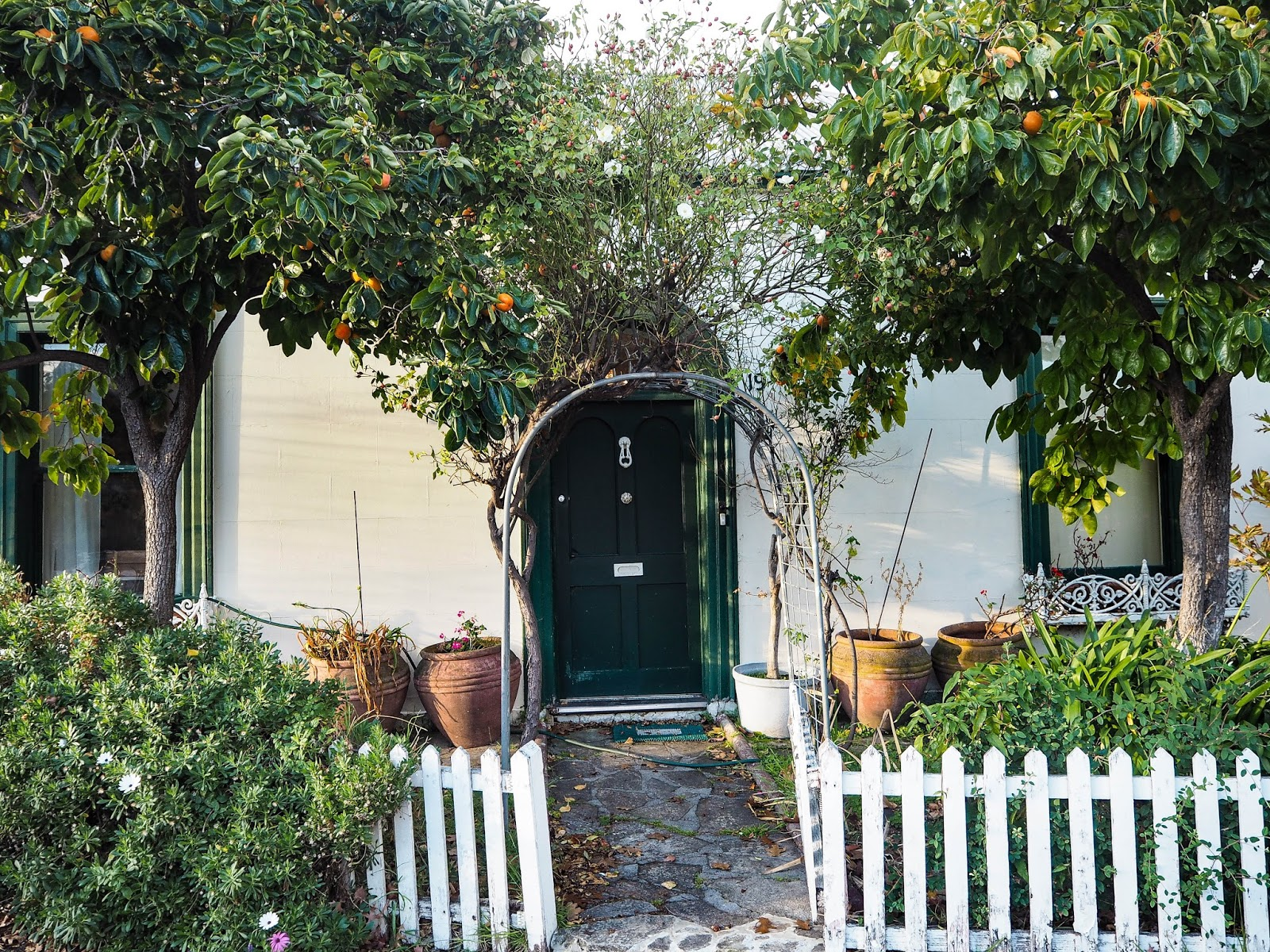 Ivy covered house with white picket fence