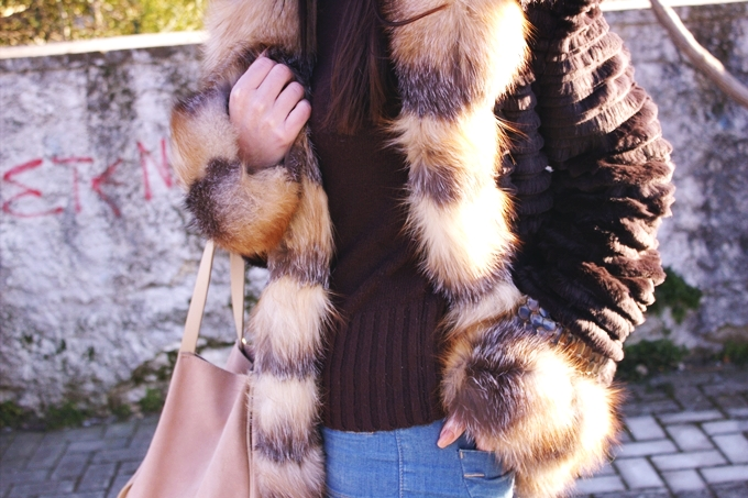 Brown fur coat with beige details