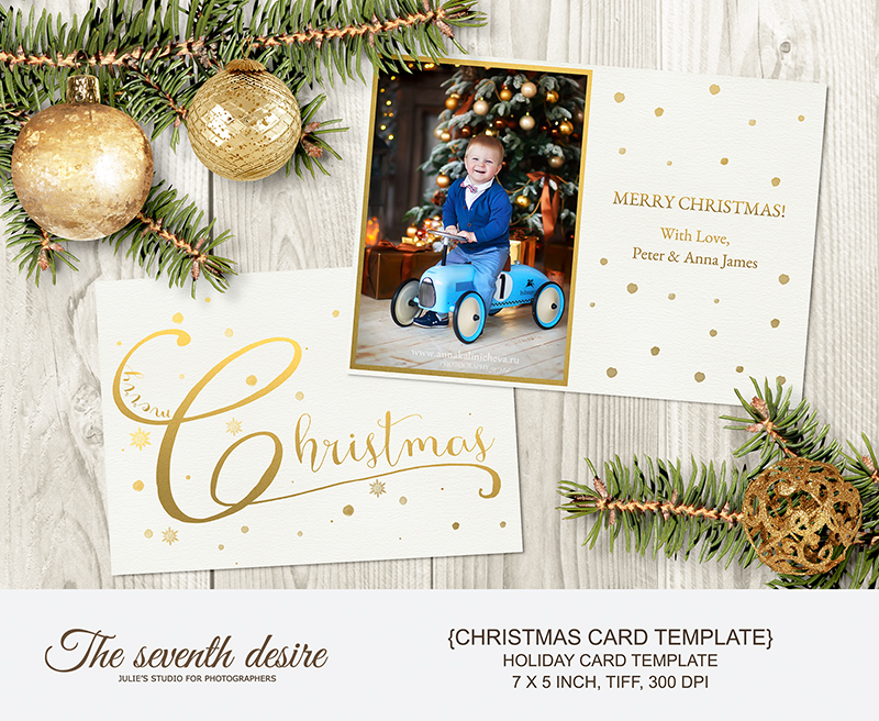 graphic design  christmas card  holiday card  card template  photo card template  photoshop template photo template  folded card template  gold christmas  photographer  5x7 photo card  for photographer  gold foil card