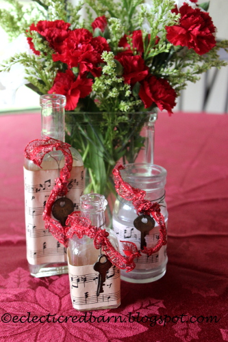 Eclectic Red Barn: Decorated old cloudy bottles