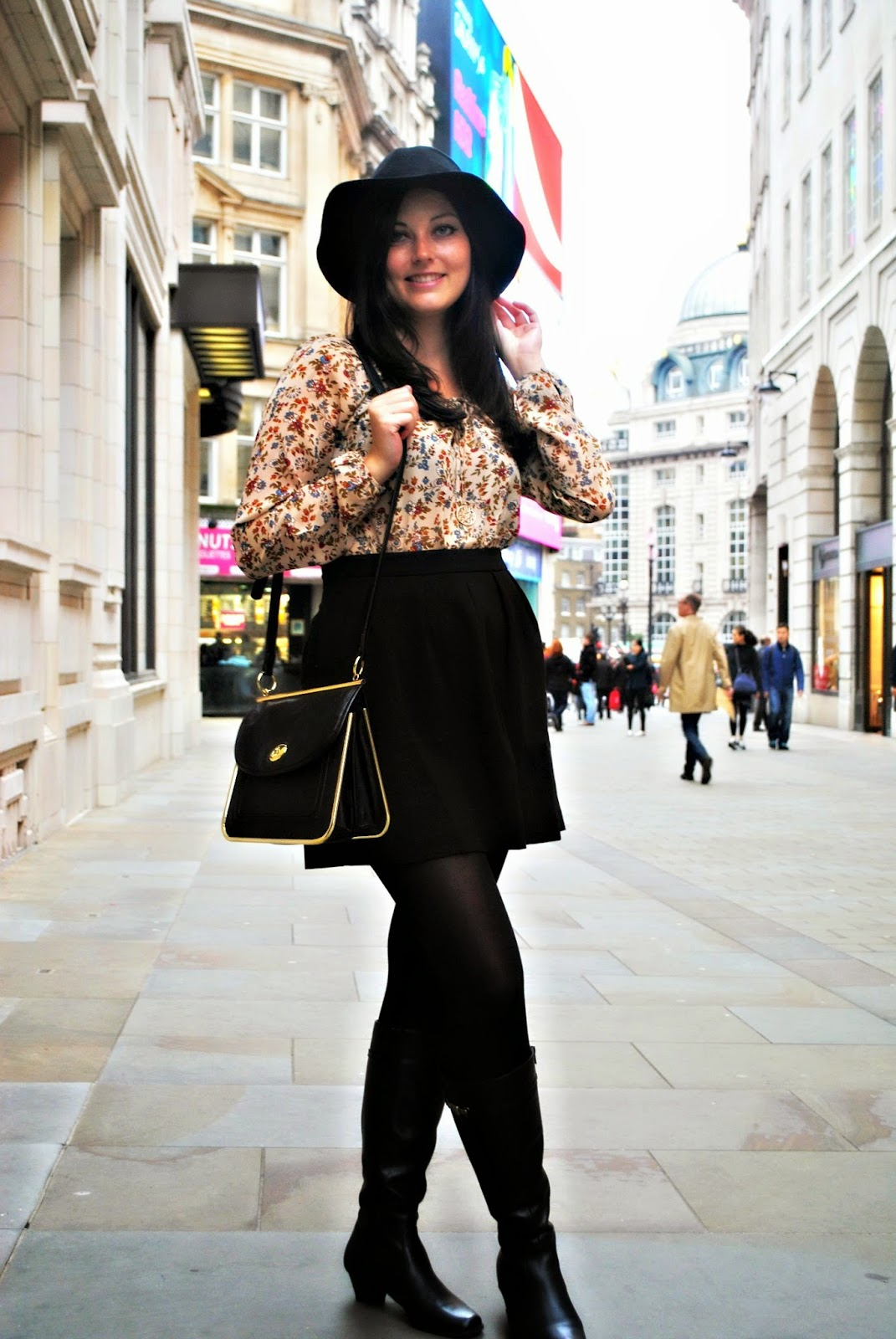 Stradivarius boho vintage blouse Fashion post shot in London