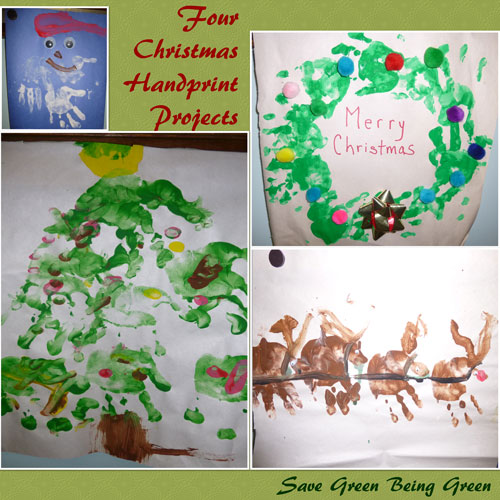 Save Green Being Green 4 Christmas Hand Print Crafts