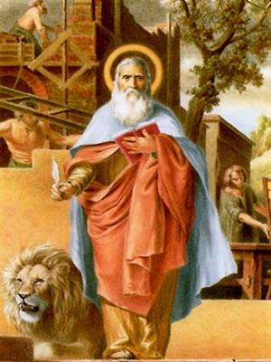 En la imagen San Marcos de Leon con el libro, la pluma y a su lado el leon