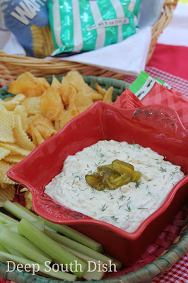 A sour cream, cream cheese and Ranch base dip, filled with spicy Fire 'n Ice pickles. Serve with kettle or ridged potato chips, pretzel chips or veggie sticks, made from celery and carrots.
