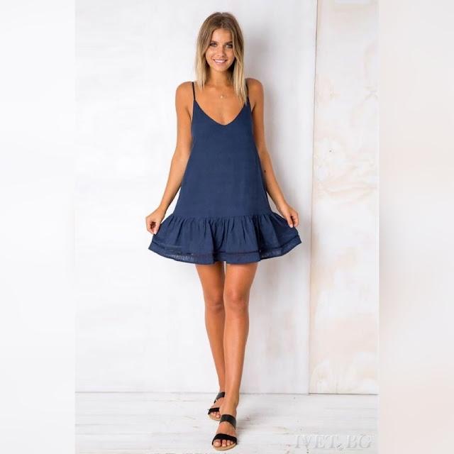 Μοντέρνο κοντό σκούρο μπλε φόρεμα MAYA