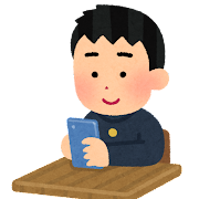 学校でスマートフォンを使う学生のイラスト(男子・学ラン)