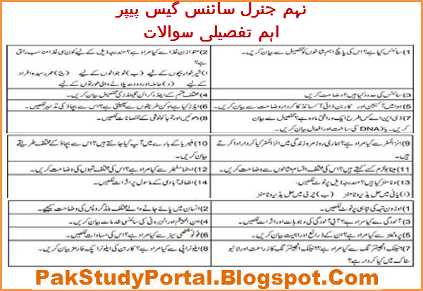 Latest 9th Class General Science Guess Paper 2018 for All Boards