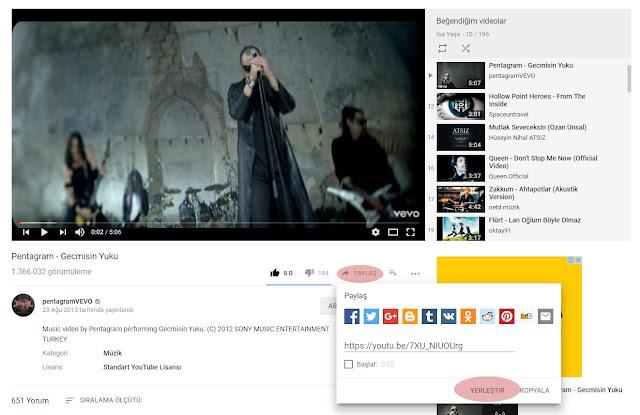 youtube video iframe kodları