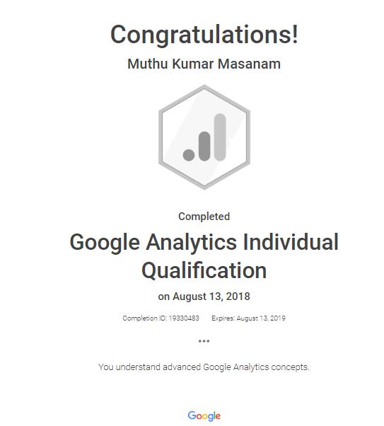 Google Analytics Individual Qualification Certificates